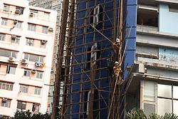October 10, 2018 - Hong Kong, CHINA - Hong Kong is where Chinese traditional art of bamboo scaffolding is being kept as a classic architectural craft.Oct-10,2018 Hong Kong.ZUMA/Liau Chung-ren (Credit Image: © Liau Chung-ren/ZUMA Wire)