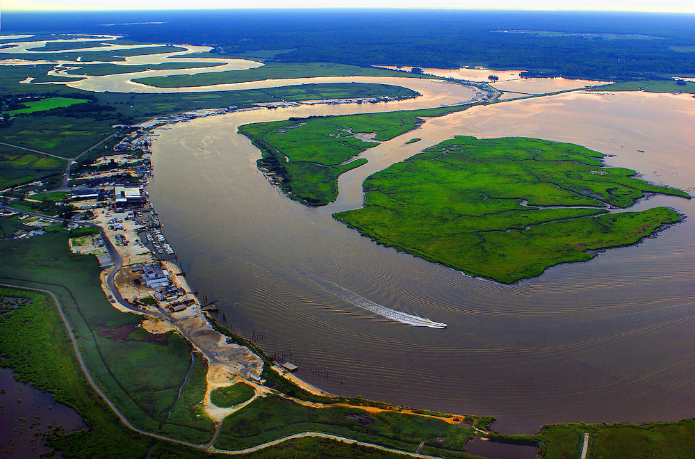 Delaware Bay, Bi-Valve Town and Maurice River Estuary, Aerial Photo