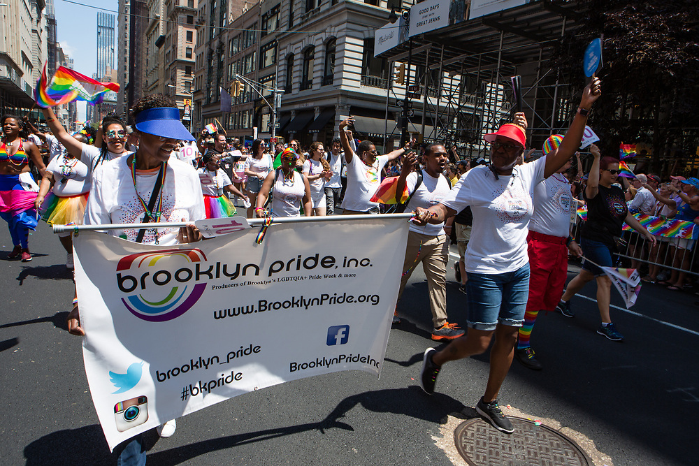 New York, NY - 30 June 2019. The New York City Heritage of Pride March filled Fifth Avenue for hours with participants from the LGBTQ community and it's supporters. Participants include Brooklyn Pride.