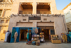 Gift shop in  Al Seef cultural district, built with traditional architecture and design, by The Creek waterside in Dubai, United Arab Emirates
