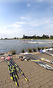 Eton,  GREAT BRITAIN. General Views of the Eton Course   and Boathouse forecourt. Eton Schools' Regatta, Eton Rowing Centre, Dorney Lake. [Finish of cancelled National Schools Regatta], Saturday, 07/06/2008  [Mandatory Credit:  Peter SPURRIER / Intersport Images]. Rowing Courses, Dorney Lake, Eton. ENGLAND