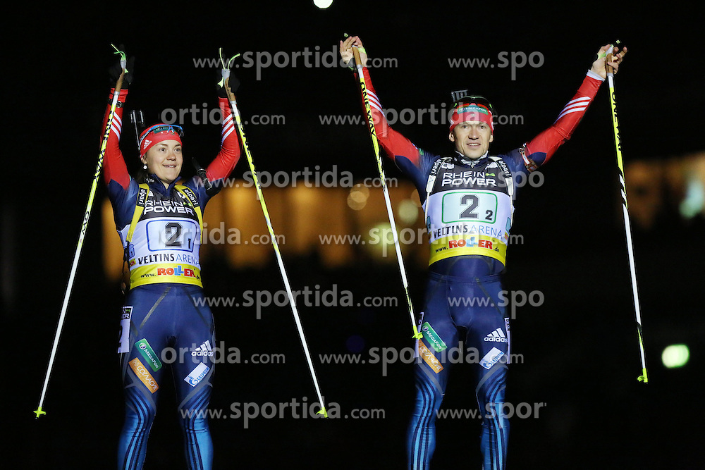 28.12.2013, Veltins Arena, Gelsenkirchen, GER, IBU Biathlon, Biathlon World Team Challenge 2013, im Bild Ekaterina Yurlova (Russland / Russia), Maxim Tchoudov (Russland / Russia) bei der Vorstellung // during the IBU Biathlon World Team Challenge 2013 at the Veltins Arena in Gelsenkirchen, Germany on 2013/12/28. EXPA Pictures &copy; 2013, PhotoCredit: EXPA/ Eibner-Pressefoto/ Schueler<br /> <br /> *****ATTENTION - OUT of GER*****