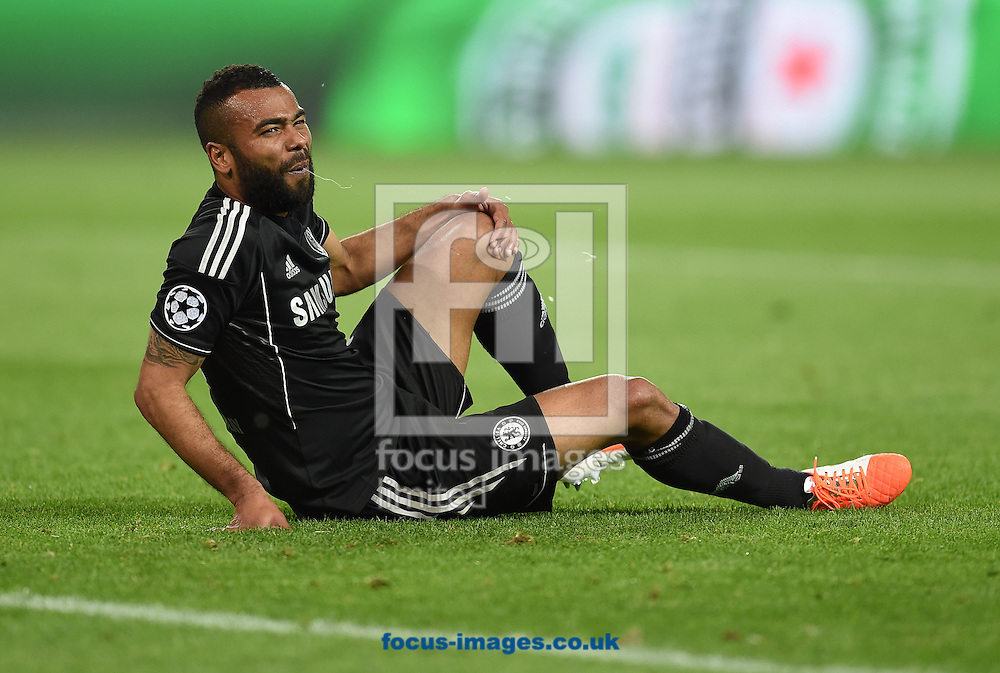 Ashley Cole of Chelsea during the UEFA Champions League match against Atletico Madrid at Vicente Calderon Stadium, Madrid<br /> Picture by Andrew Timms/Focus Images Ltd +44 7917 236526<br /> 22/04/2014