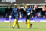 Dale Steyn of Hampshire and Sam Northeast of Hampshire walk off the field after the close of the Hampshire innings during the Royal London 1 Day Cup match between Hampshire County Cricket Club and Kent County Cricket Club at Lord's Cricket Ground, St John's Wood, United Kingdom on 30 June 2018. Picture by Graham Hunt.