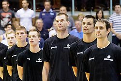 Uros Slokar of Slovenia and other players during friendly basketball match between National teams of Slovenia and Georgia in day 2 of Adecco Cup 2014, on July 25, 2014 in Dvorana OS 1, Murska Sobota, Slovenia. Photo by Vid Ponikvar / Sportida.com