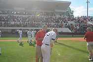 Mississippi's Matt Snyder re-dislocated his shoulder during the celebration vs. LSU at Oxford-University Stadium on Sunday, April 25, 2010 in Oxford, Miss. Ole Miss won 7-6 to sweep the three game series