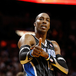 March 3, 2011; Miami, FL, USA; Orlando Magic center Dwight Howard (12) during the fourth quarter against the Miami Heat at the American Airlines Arena. The Magic defeated the Heat 99-96.    Mandatory Credit: Derick E. Hingle