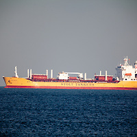 The Stolt Emerald chemical and oil tanker navigating the Sandy Hook Channel on way to port in New York.