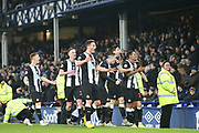 Newcastle United celebrates defender Florian Lejeune (20)  equalising goal 2-2  during the Premier League match between Everton and Newcastle United at Goodison Park, Liverpool, England on 21 January 2020.