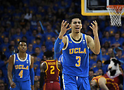Feb 28, 2019; Los Angeles, CA, USA; UCLA Bruins guard Jules Bernard (3) reacts in the second half against the Southern California Trojans at Pauley Pavilion. UCLA defeated USC 93-88 in overtime.