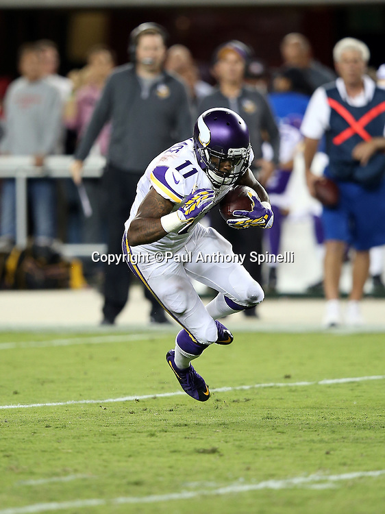 Minnesota Vikings wide receiver Mike Wallace (11) catches a pass during the 2015 NFL week 1 regular season football game against the San Francisco 49ers on Monday, Sept. 14, 2015 in Santa Clara, Calif. The 49ers won the game 20-3. (©Paul Anthony Spinelli)