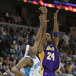 12 November 2008:  Los Angeles Lakers guard Kobe Bryant (24) shoots over New Orleans Hornets forward James Posey (41) during a NBA regular season game between the Los Angeles Lakers and the New Orleans Hornets at at the New Orleans Arena in New Orleans, LA..