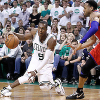 26 May 2012: Boston Celtics point guard Rajon Rondo (9) dribbles during the Boston Celtics 85-75 victory over the Philadelphia Sixer, in Game 7 of the Eastern Conference semifinals playoff series, at the TD Banknorth Garden, Boston, Massachusetts, USA.