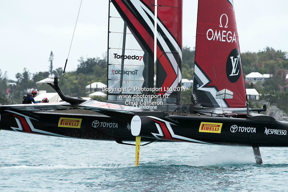 The Great Sound, Bermuda. 1st June 2017. Emirates Team New Zealand warm up for the second race day of Round Robin two of the America's Cup Qualifiers.<br /> Copyright photo: Chris Cameron / www.photosport.nz<br /> For editorial news use only NO AGENTS