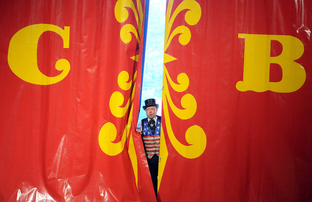 Ring Master Chris Connors starts the show at the Cole Bros. Circus on the grounds of the Wilmington International Airport as part of the N.C. Azalea Festival Thursday, April 12, 2012. The circus runs until Sunday, April 15, 2012. Photo By Mike Spencer/STAR-NEWS