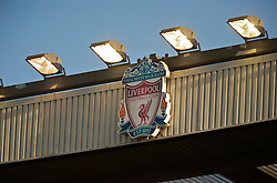 LIVERPOOL, ENGLAND - Saturday, January 30, 2010: Liverpool's club crest under the floodlights during the Premiership match at Anfield. (Photo by: David Rawcliffe/Propaganda)