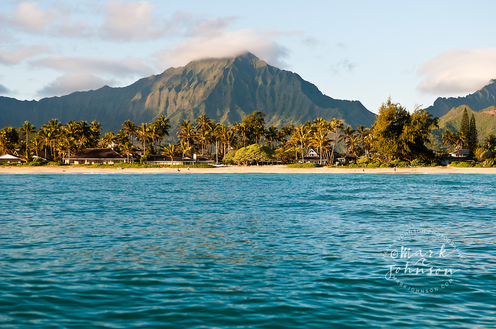 View of the Koolau Mountains from out in Kailua Bay