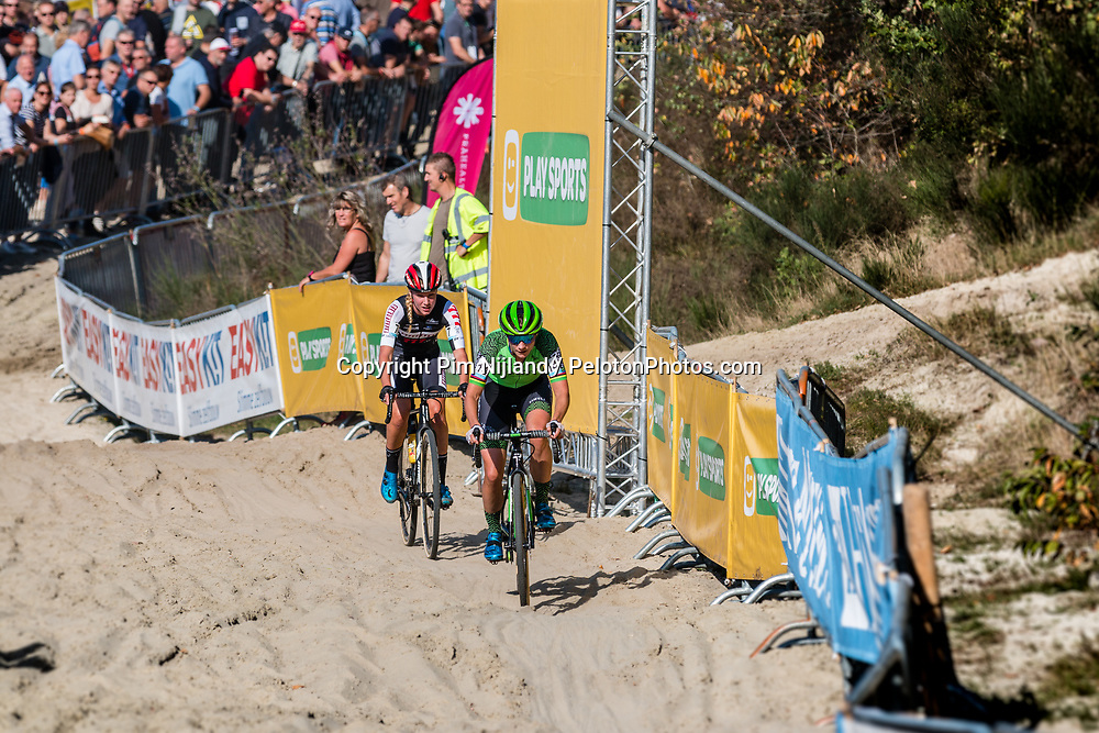 Marianne VOS (NED) and Annemarie WORST (NED) during the Women Elite race at the 2018 Telenet Superprestige Cyclo-cross #1 Gieten, UCI Class 1, Gieten, Drenthe, The Netherlands, 14 October 2018. Photo by Pim Nijland / PelotonPhotos.com | All photos usage must carry mandatory copyright credit (Peloton Photos | Pim Nijland)