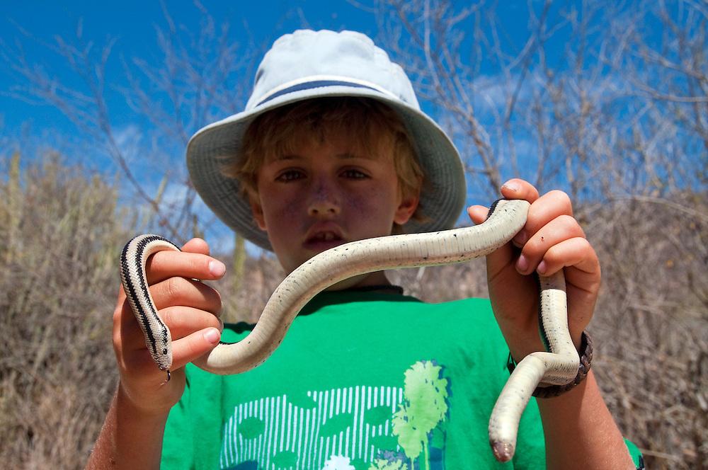 Boy holding boa snake, Agua Caliente Canyon, Baja California, Mexico.