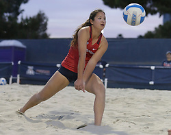 April 6, 2018 - Tucson, AZ, U.S. - TUCSON, AZ - APRIL 06: Arizona Wildcats defender Jonny Baham (11) hits the ball during a college beach volleyball match between the Arizona State Sun Devils and the Arizona Wildcats on April 06, 2018, at Bear Down Beach in Tucson, AZ. Arizona defeated Arizona State 4-1. (Photo by Jacob Snow/Icon Sportswire (Credit Image: © Jacob Snow/Icon SMI via ZUMA Press)