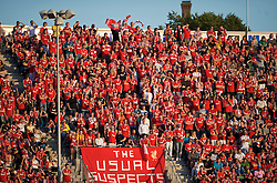 OSLO, NORWAY - Wednesday, August 5, 2009: Liverpool's Norwegian supporters against FC Lyn Oslo during a preseason match at the Bislett Stadion. (Pic by David Rawcliffe/Propaganda)