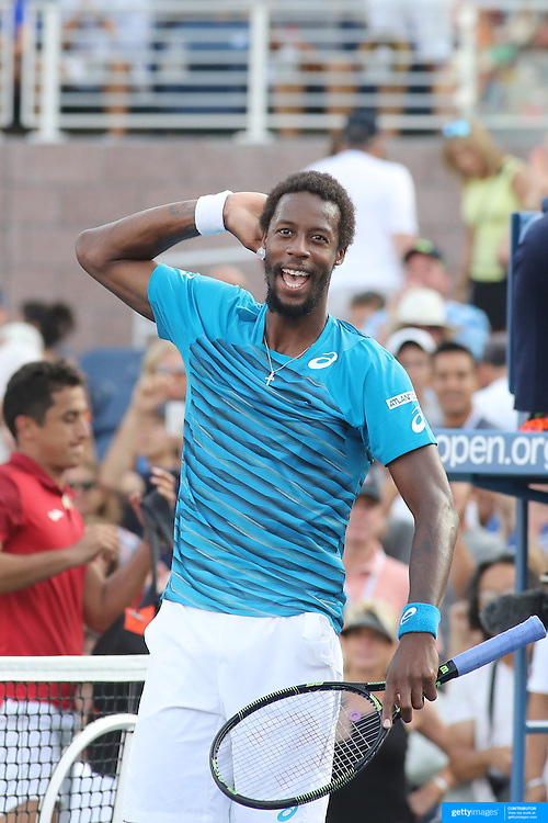 2016 U.S. Open - Day 5  Gael Monfils of France reacts after winning his match against Nicolas Almagro of Spain in the Men's Singles round three match on Grandstand Stadium on day five of the 2016 US Open Tennis Tournament at the USTA Billie Jean King National Tennis Center on September 2, 2016 in Flushing, Queens, New York City.  (Photo by Tim Clayton/Corbis via Getty Images)