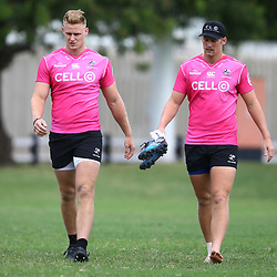 Daniel Du Preez of the Cell C Sharks with Robert du Preez of the Cell C Sharks during the cell c sharks training session at  Jonsson Kings Park Stadium,Durban.South Africa. 30,04,2018 Photo by Steve Haag)