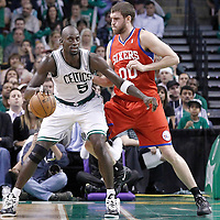 21 May 2012: Philadelphia Sixers center Spencer Hawes (00) defends on Boston Celtics power forward Kevin Garnett (5) during the Boston Celtics 101-85 victory over the Philadelphia Sixer, in Game 5 of the Eastern Conference semifinals playoff series, at the TD Banknorth Garden, Boston, Massachusetts, USA.