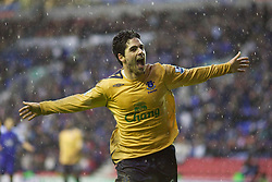 Wigan, England - Sunday, January 21, 2007: Everton's Mikel Arteta celebrates scoring the second goal against Wigan Athletic during the Premier League match at the JJB Stadium. (Pic by David Rawcliffe/Propaganda)