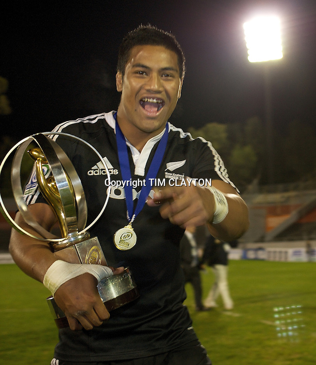 Julian Saver, New Zealand, Junior player of the year during the Australia V New Zealand Final match at Estadio El Coloso del Parque, Rosario, Argentina, during the IRB Junior World Championships. 21th June 2010. Photo Tim Clayton...