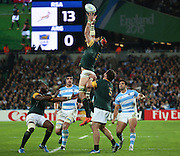 South Africa's Captain Victor Matfield winning the restart during the Rugby World Cup Bronze Final match between South Africa and Argentina at the Queen Elizabeth II Olympic Park, London, United Kingdom on 30 October 2015. Photo by Matthew Redman.