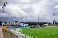 Et kig ud over stadion ved indvielsen af Helsingør Kommunes nye stadion på Gl. Hellebækvej i Helsingør den 8. august 2019 (Foto: Claus Birch)