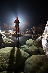 "An expedition member works within the Miao Room Chamber, China's largest cave chamber by volume, in Ziyun County of southwest China's Guizhou Province, April 14, 2016. In 2014, National Geographic announced Miao Room Chamber, with a volume of some 19.78 million cubic meters, as the world's largest cave chamber. A joint caving expedition code-named ""Pearl"" by explorers and scientists from China and France kicked off here on April 11 during the 19-day exploration, they will conduct comprehensive investigation on famous caves in Guizhou including the Miao Room Chamber and Shuanghe Cave in Suiyang. EXPA Pictures © 2016, PhotoCredit: EXPA/ Photoshot/ Ou Dongqu<br /> <br /> *****ATTENTION - for AUT, SLO, CRO, SRB, BIH, MAZ, SUI only*****"