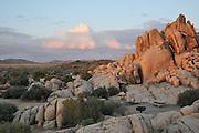 Rocky landscape above campground at sunset, Joshua Tree National Park