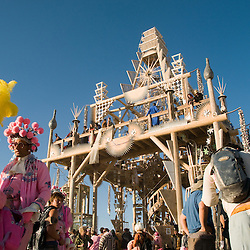 Aug. 30 2008 - Black Rock City, Nevada, USA - Festival goers spend sunrise in front of the Temple Saturday morning, Aug. 30, 2008, during the Burning Man arts and culture festival in Black Rock City in the Black Rock Desert near Gerlach, Nev. (Credit Image: © David Calvert/ZUMA Press)