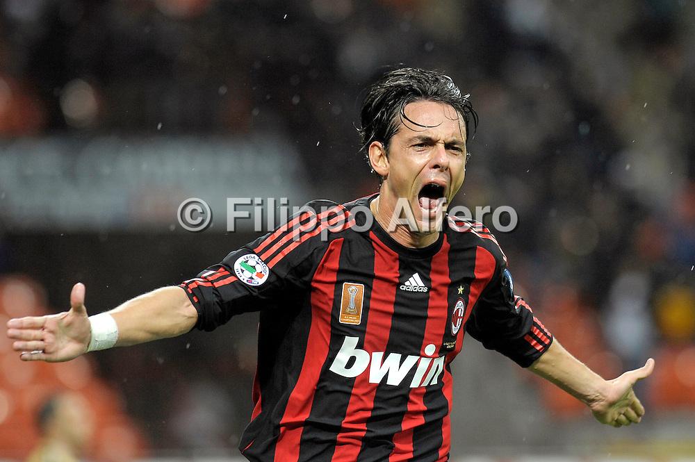 &copy; Filippo Alfero<br /> Milano, 29/10/2008<br /> sport , calcio<br /> Milan vs Siena - Serie A 2008 / 2009<br /> Nella foto: esultanza Inzaghi gol 1-0<br /> <br /> &copy; Filippo Alfero<br /> Milan, Italy, 29/10/2008<br /> Italian soccer<br /> Milan vs Siena - Serie A 2008 / 2009<br /> In the photo: Inzaghi celebrates his 1-0 goal