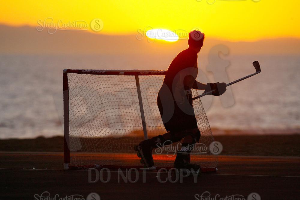 22 January 2011:  PBHA outdoor roller hockey on the blacktop at the beach.  David Golini.