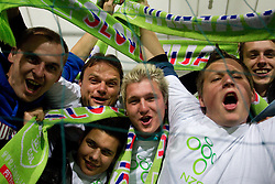 Fans of Slovenia during football match between National Teams of Slovenia and Serbia of UEFA Euro 2012 Qualifying Round in Group C on October 11, 2011, in Stadium Ljudski vrt, Maribor, Slovenia.  Slovenia defeated Serbia 1-0. (Photo by Vid Ponikvar / Sportida)