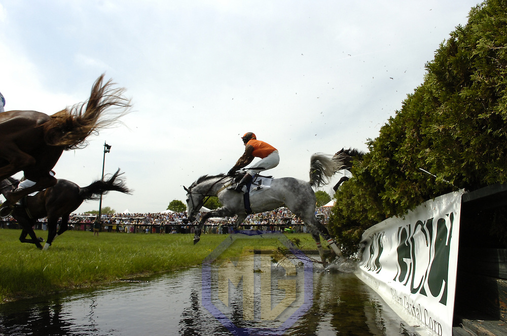 03 May 2008:  Xavier Aizpuru aboard Swagger Stick stumbles going over the water jump in the 3rd race of the 83rd running of the Virginia Gold Cup Races on October 20, 2007 at the Great Meadow in The Plains, Va..