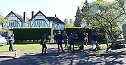 © Licensed to London News Pictures. 07/09/2012. Claygate, UK Media outside the house. The family home of Saad al-Hilli in Claygate, near Esher. Three members ofof the family have been shot dead in the French Alps. Photo credit : Stephen Simpson/LNP