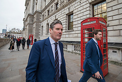 © Licensed to London News Pictures. 05/12/2017. London, UK. Keir Starmer MP, Shadow Secretary of State for Exiting the European Union, on Whitehall after putting an urgent question in Parliament to David Davis about Brexit negotiations. Photo credit: Rob Pinney/LNP