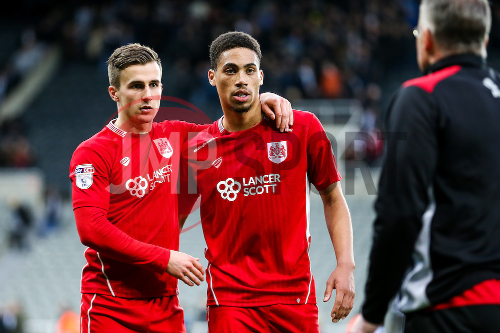 Joe Bryan and Zak Vyner of Bristol City look on after the game ends 2-2 with City having led 0-2 at half time - Rogan Thomson/JMP - 25/02/2017 - FOOTBALL - St James' Park - Newcastle, England - Newcastle United v Bristol City - Sky Bet EFL Championship.