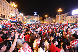 ZAGREB, June 16, 2018  Fans of Croatia watch a group D football match between Croatia and Nigeria at the 2018 FIFA World Cup on a giant screen at Ban Jelacic Square in Zagreb, Croatia, on June 16, 2018. (Credit Image: © Matija Habljak/Xinhua/Xinhua via ZUMA Wire)