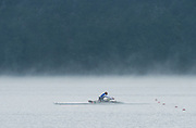 Aiguebelette, FRANCE. ITA ASM1X, training in the mist on the course at the 2014 FISA World Cup II, 08:47:59  Thursday  19/06/2014. [Mandatory Credit; Peter Spurrier/Intersport-images] © Peter SPURRIER, Atmospheric, Rowing