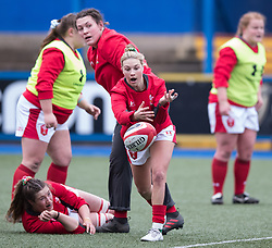 Keira Bevan of Wales during the pre match warm up<br /> <br /> Photographer Simon King/Replay Images<br /> <br /> Six Nations Round 1 - Wales Women v Italy Women - Saturday 2nd February 2020 - Cardiff Arms Park - Cardiff<br /> <br /> World Copyright © Replay Images . All rights reserved. info@replayimages.co.uk - http://replayimages.co.uk