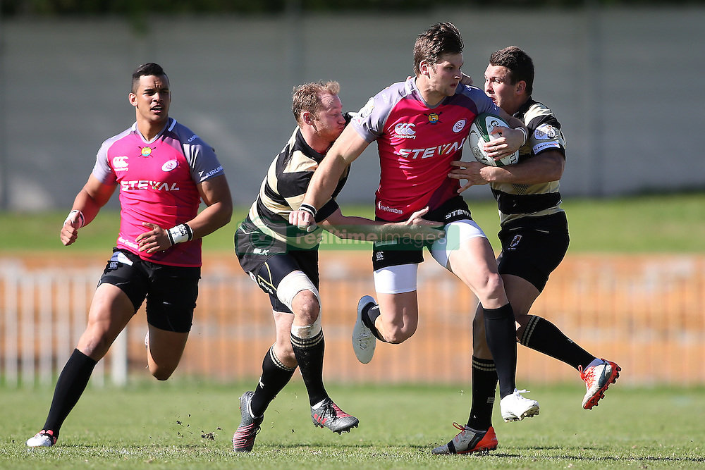 Tyler Fisher of the Pumas attempts to break the tackle during the Currie Cup premier division match between the Boland Cavaliers and The Pumas held at Boland Stadium, Wellington, South Africa on the 2nd September 2016<br /> <br /> Photo by:   Shaun Roy/ Real Time Images