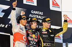 27.03.2011, Albert-Park-Circuit, Melbourne, AUS, F1 Großer Preis von Australien, Melbourne 2011, Race 01, im Bild Podium - Lewis Hamilton (GBR), McLaren F1 Team - Sebastian Vettel (GER), Red Bull Racing - Vitaly Petrov (RUS), Lotus Renault GP during Formula One Grand Prix of Australia at Albert-Park-Circuit Melbourne on 27/3/2011. EXPA Pictures © 2011, PhotoCredit: EXPA/ nph/ Dieter Mathis       ****** only for AUT & SLO ******