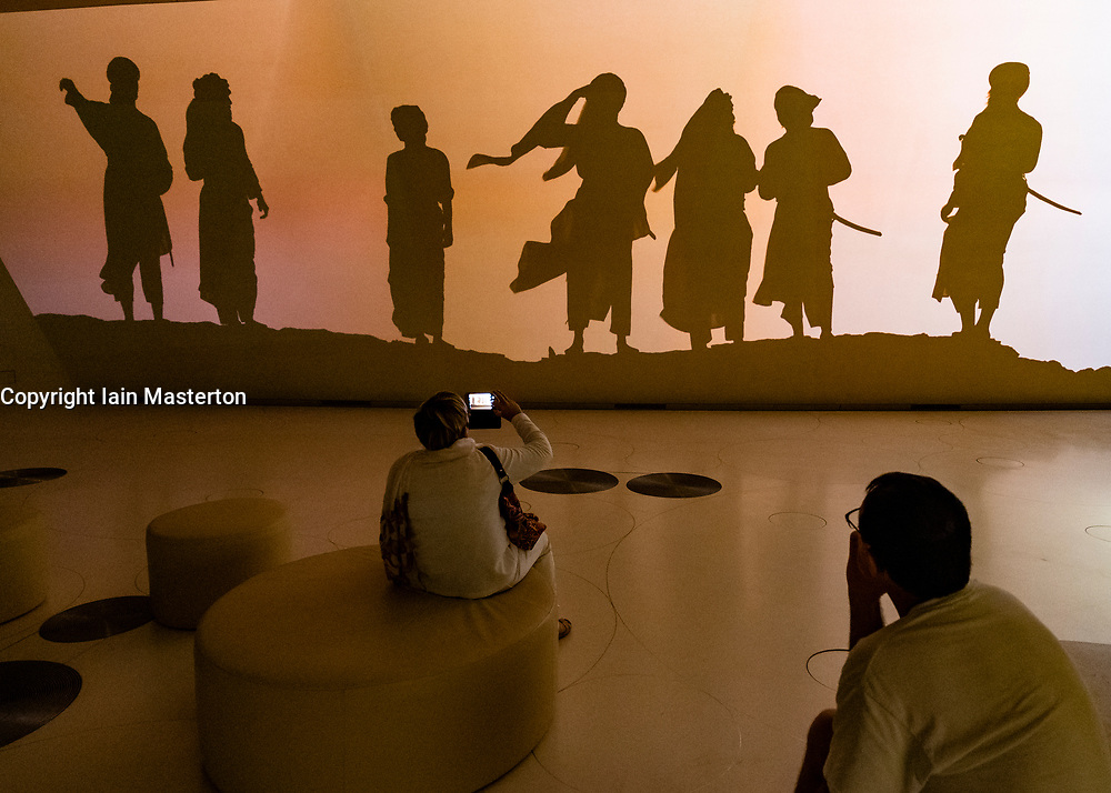 Video installation on Qatari life and culture at the new National Museum of Qatar in Doha , Qatar. Architect Jean Nouvel.