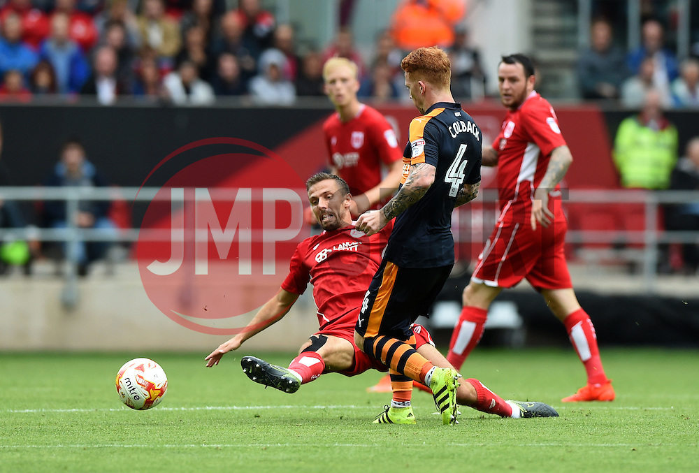 Jack Colback of Newcastle United is fouled by Gary O'Neil of Bristol City  - Mandatory by-line: Joe Meredith/JMP - 20/08/2016 - FOOTBALL - Ashton Gate - Bristol, England - Bristol City v Newcastle United - Sky Bet Championship