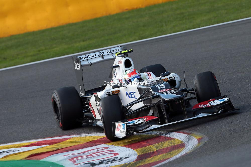 &copy; Photo4 / LaPresse<br /> 01/9/2012 Spa-Francorchamps, Belgium<br /> Belgian Grand Prix, Spa-Francorchamps 30 August - 02 September 2012<br /> In the pic: Sergio Perez, Sauber F1 Team, C31